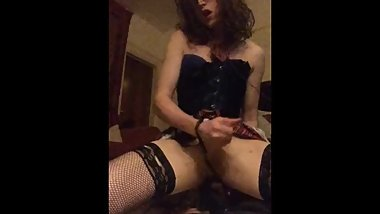 crossing dressing whore rides dildo horny slut gagging for coc