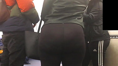 Nice Round Latina Teen Ass in Black Spandex