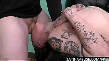 Tatted Latina facefucked &amp_ pounded