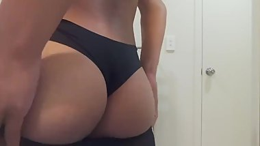 Teen Shows Of Ass In Clear Black Stockings And Favourite Panties