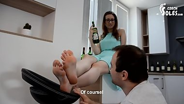 Czech Soles - Greek barmaid in sandals featuring, Daniela