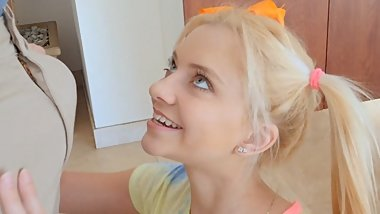 Tiny Pigtail Blonde goes Interracial