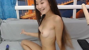 Tiny Asian with Fuck Machine