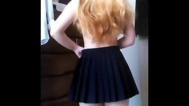 Blonde Teen Strips from Behind