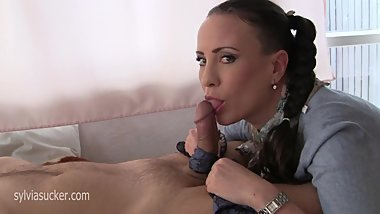 Silky Cock Snack - Sylvia Chrystall Silk Scarf Blowjob -Cum on Silk Scarf
