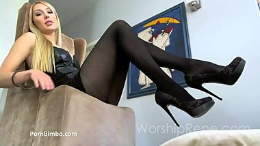 Princess Rene in Pantyhose Teasing Long Legs in High Heels and Nylon Feet
