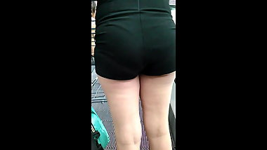 Ass in mini black shorts the shopping