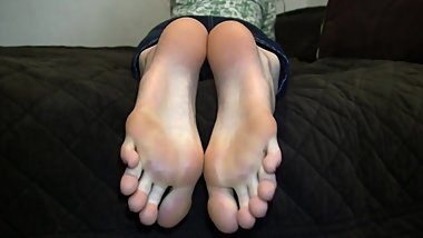 Beautiful Blonde Teen Soles On Bed (No Audio)