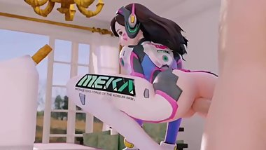 D.Va Tiny Teen Anal Sex Wearing Tight Outfit