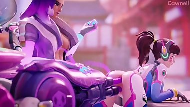 D.Va Perfect Ass Penetrated with Gun While Sombra Watches