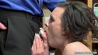 Teen rides on top of the LP Officers throbbing dick!