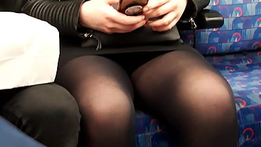 Pantyhose upskirt on the tube