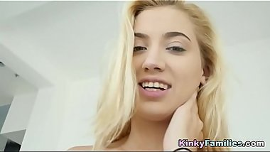 Cute blonde little girl likes to fuck hard