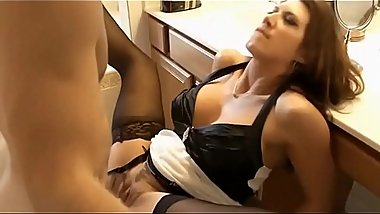 NEW BUSTY HOUSEKEEPER BESIDES HOUSEWORK KNOWS HOW TO FUCK BEAUTIFULLY WITH THE YOUNG OWNER IN TIGHT PUSSY ON THE KITCHEN TABLE