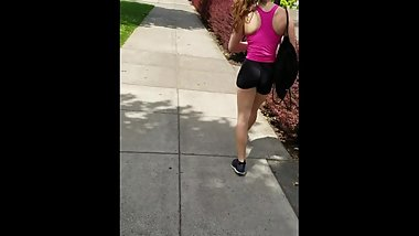 White College Cutie Walks Home Flushed From The Gym In Her Spandex Shorts