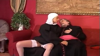 Old priest fuck a young and sexy nun.