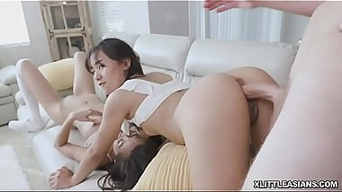 Dustin Daring stick his white long cock inside two Asian tight cunt