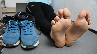 My Sweaty and Dirty Feet After Running 5K POV