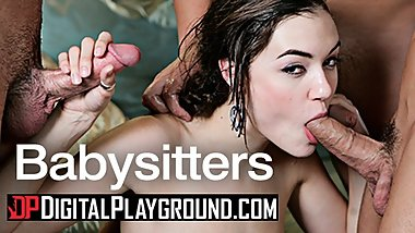 Digital Playground - Babysitter Sasha Grey is back and taking 3 daddy dicks