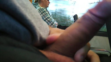 public cumshot in train
