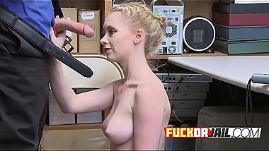 Teen MILF blonde criminal fucked in the office