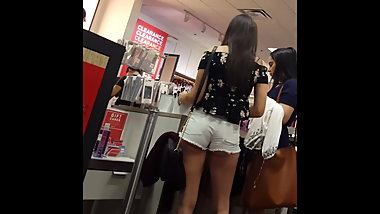 Candid voyeur hot ass cheeks shopping with friend