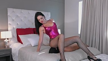 Sexy brunette facesitting latex Bodysuit fishnets