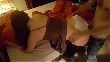 T&amp_A 320 - White Girl in Brown &amp_ White Satin Lingerie