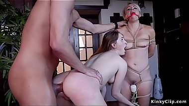 Teen anal in front of mom in bondage