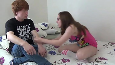 Nerdy Teen In Glasses Let Her Redhead Roommate Cum In Pussy