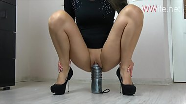 Huge Dildo For Wet Tight Teen Pussy - Stretching Pussy Wide & Deep