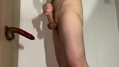 Young guy plays with dildo!