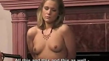 Russian dirty blonde in slave training