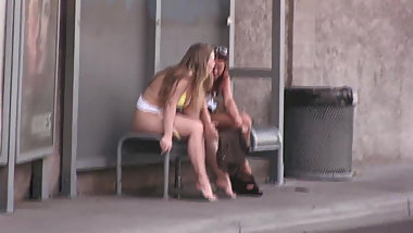 Slut pisses on bus stop in Las Vegas!