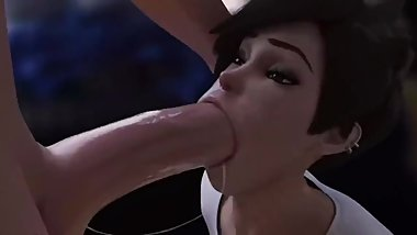 Tracer Deepthroating a Huge Cock in Front of Her Girlfriend