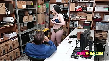 BUSTY young criminal rides FAT cock in GUARDs office