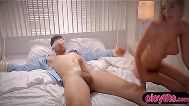 Erotic sensations from blonde GF with a blindfold