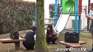 Gorgeous Japanese babes peeing in schoolbags in public