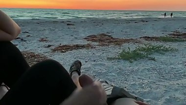 Public Handjob On The Beach During Sunset