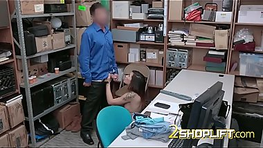 Tattooed MILF shoplifter fucked by THICK meat stick