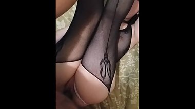 Ramming my huge black cock into her tiny, tight pink little pussy