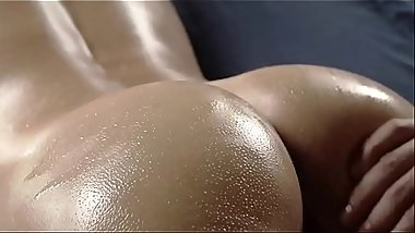 The first finger in her oiled ass