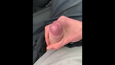 Jerking on parking lot in PORSCHE, young stud moaning