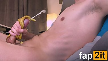 Amateur Horny Guy Moaning While Cumming - Banana Masturbation - 4K