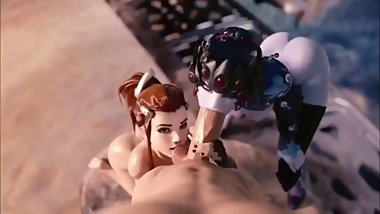 Brigitte and Widowmaker Tight Thots Giving Head