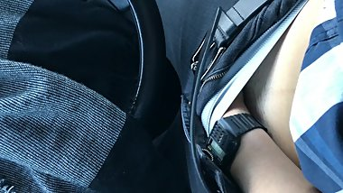 Car Masturbation with Stripped Shirt and Retro Watch