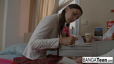 Young schoolgirl takes a study break to get ass fucked