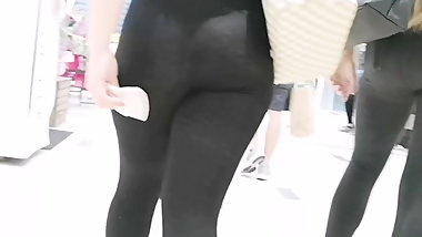Following a Nice ass in sheer see through leggings