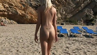 Skinny Blonde Teen Walking On the Beach Nude -- Perfect 10.