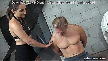 Femdom Alert! Skinny babe whips fit guy and blows him off